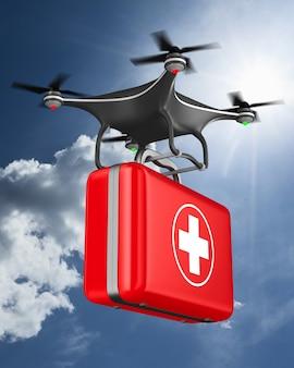 Quadrocopter com kit de primeiros socorros no céu de nuvens. ilustração 3d