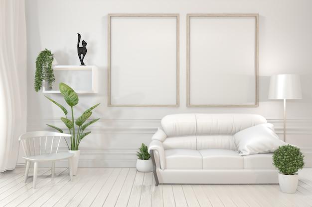 Quadros de madeira do cartaz interior, sofá, planta e lâmpada na sala de visitas com projeto mínimo da parede branca.