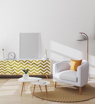 Quadros de pôster em branco no interior da sala de estar escandinava elegante de apartamento moderno com poltrona branca e almofada amarela, mesa de café e armários, maquete da sala de estar, renderização em 3d