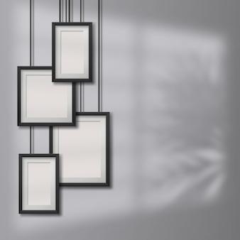 Quadros de suspensão em branco realistas, quadros de fotos em fundo de transparen