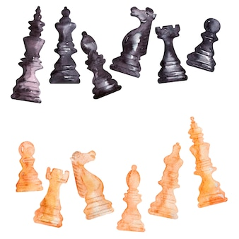 Quadros em aquarela com peças de xadrez