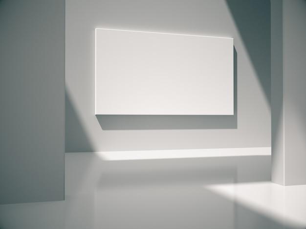 Quadros grandes vazios penduram na parede branca no quarto branco