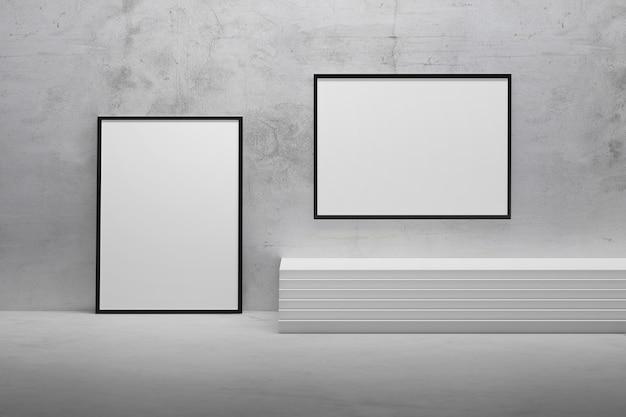 Quadros horizontais e verticais no interior abstrato da sala com escadas e parede de gesso