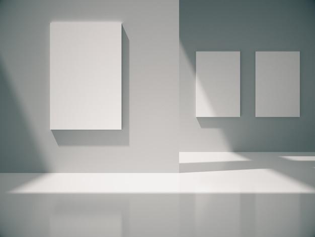 Quadros vazios penduram na parede branca no quarto branco