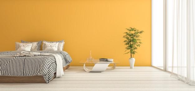 Quarto amarelo da rendição 3d com decoração e luz do dia mínimas
