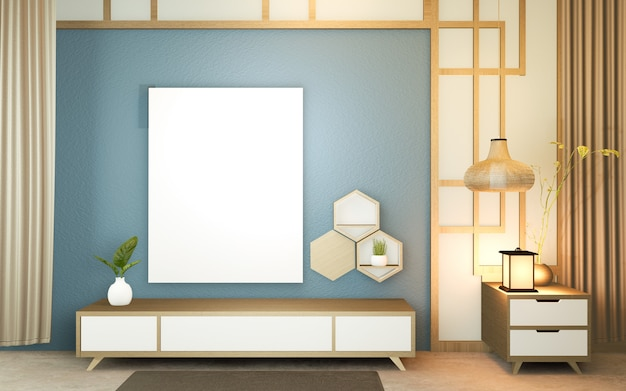 Quarto azul escuro moderno, estilo japonês de design minimalista.