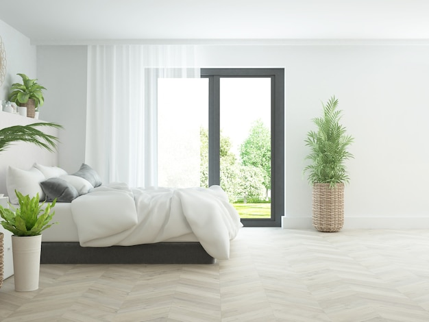Quarto boho moderno com muitas plantas, cama aconchegante e vista para o jardim