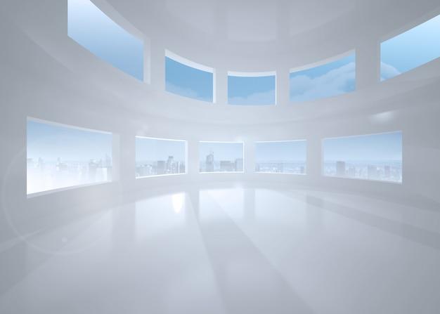 Quarto branco brilhante com janelas