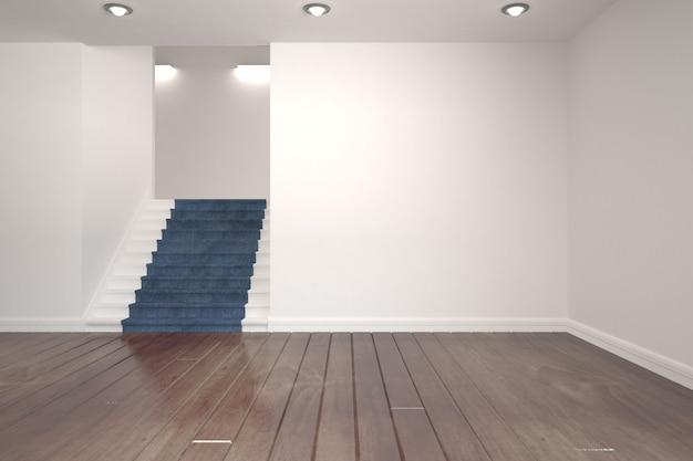 Quarto branco com escadas