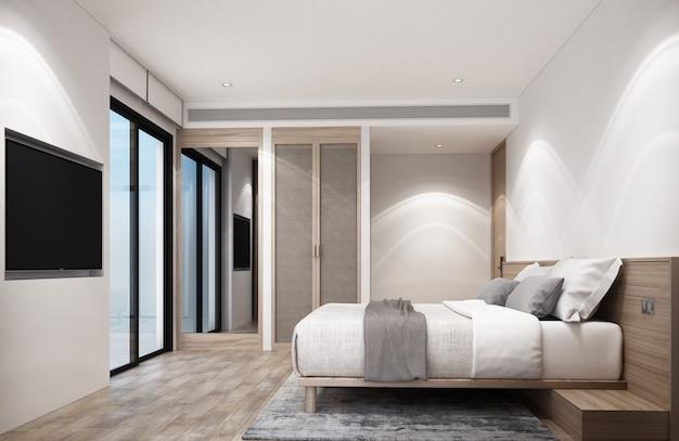 Quarto branco com móveis de madeira e piso