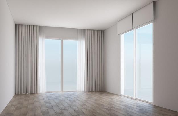 Quarto branco com piso de madeira e portas de correr com cortinas