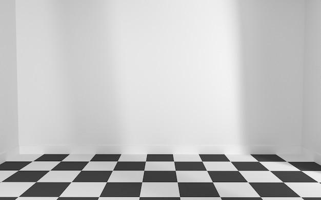 Quarto branco com tabuleiro de damas de chão