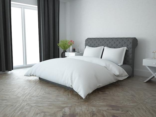 Quarto branco elegante com piso de madeira clássico