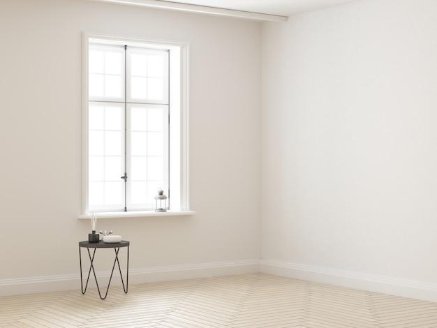 Quarto branco elegante quase vazio com janela e mesa de centro com enfeites