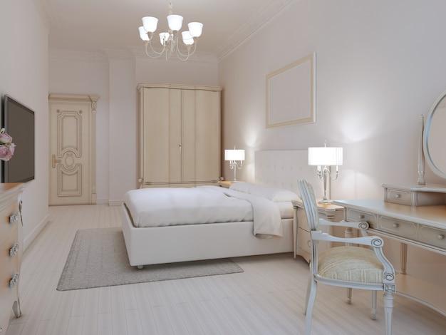 Quarto branco em estilo art déco com piso de linóleo e paredes brancas