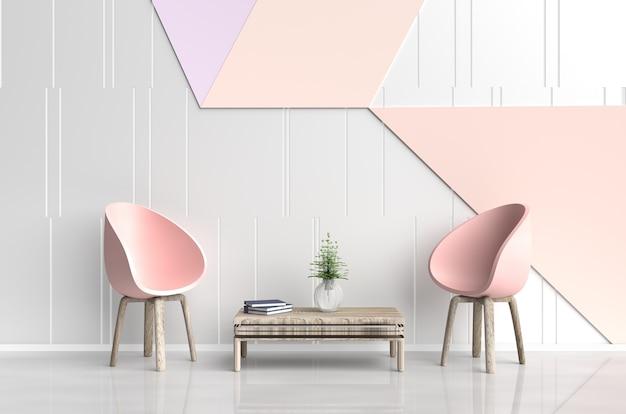 Quarto branco-laranja são decoração com cadeira rosa-laranja, livro azul, parede de cimento branco-laranja. 3d