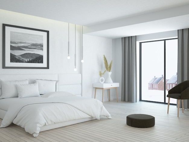 Quarto branco luxuoso e elegante e moderno