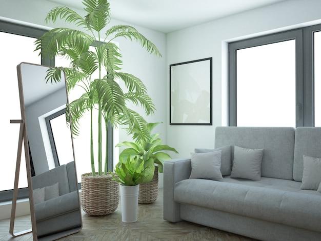 Quarto branco moderno com muitas plantas internas e um grande espelho