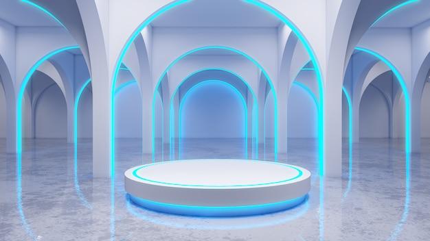 Quarto branco moderno, com palco branco e néon brilhante, luzes azuis, render 3d