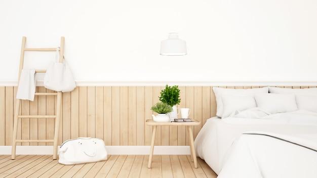 Quarto branco ou quarto de hotel design minimalista - 3d rendering