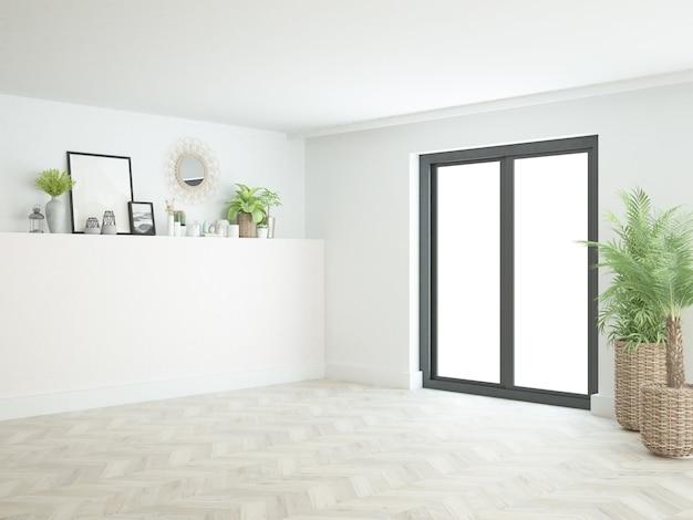 Quarto branco quase vazio com janela do terraço, piso de madeira e muitas plantas