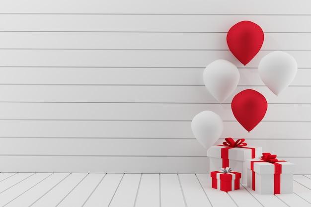 Quarto branco vazio com festa de balões em renderização em 3d