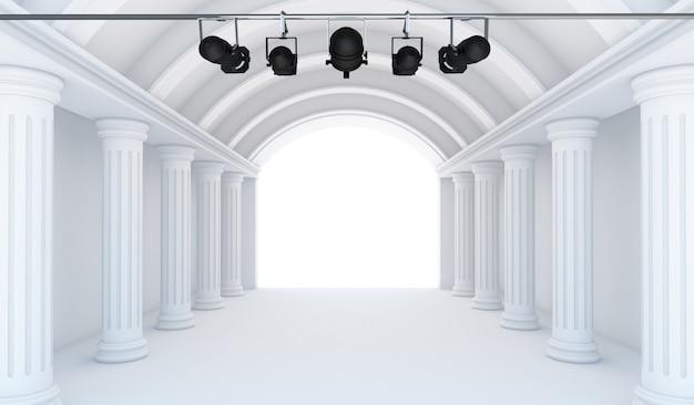 Quarto branco vazio com holofotes - perspectiva 3d