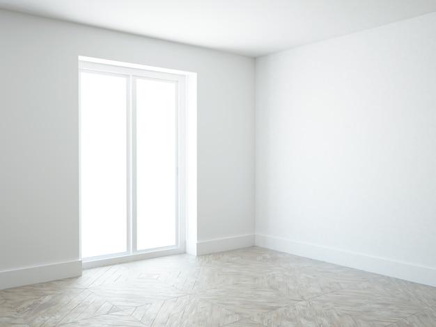 Quarto branco vazio com janela do terraço e piso de madeira