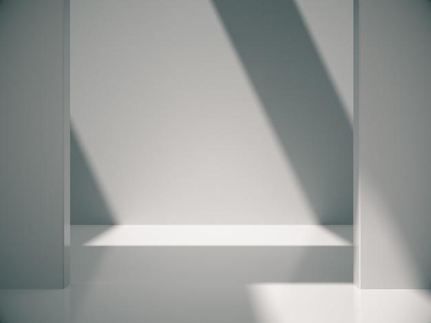 Quarto branco vazio com luzes da natureza