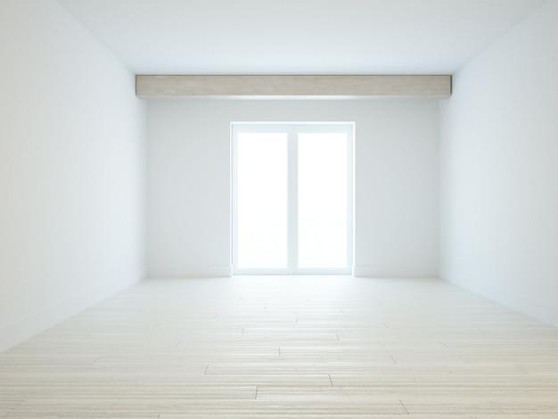 Quarto branco vazio com piso de madeira clara