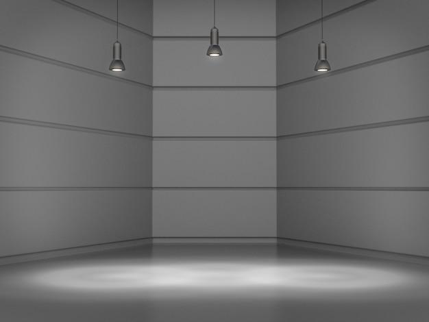 Quarto branco vazio com ponto de luz das lâmpadas