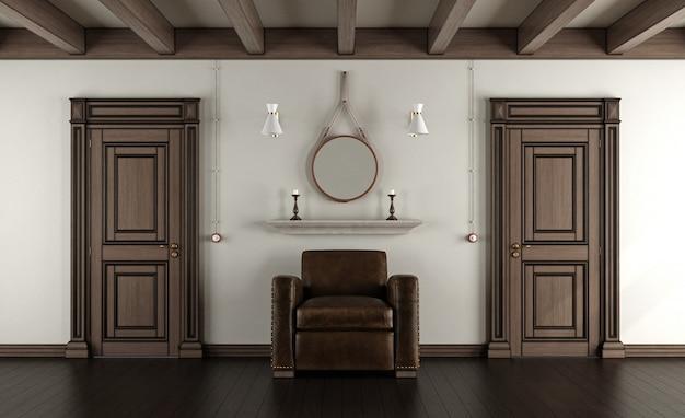 Quarto clássico com poltrona e portas fechadas