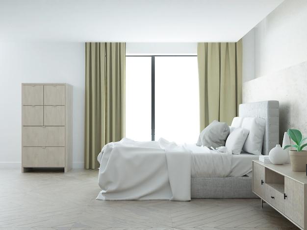 Quarto com cama grande e janela terraço
