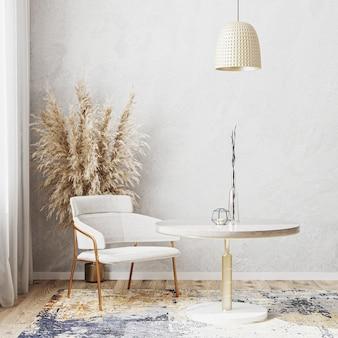 Quarto com decoração luminosa e mesa de jantar redonda luxuosa