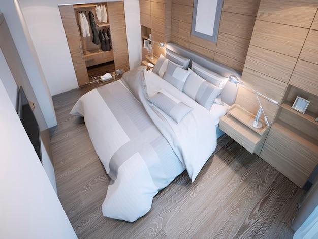 Quarto com design contemporâneo com cama principal