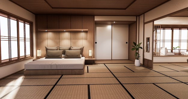 Quarto com design japonês no interior do quarto tropical e piso de tatame