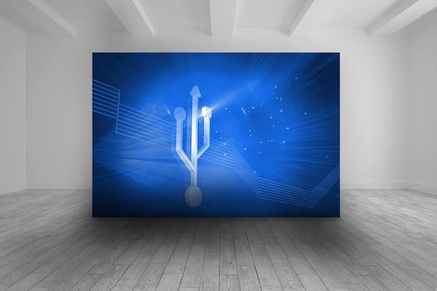 Quarto com foto azul do ícone de conexão