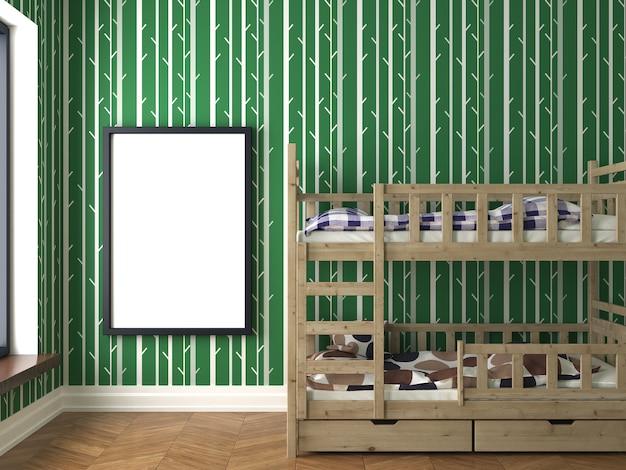 Quarto com padrão de bambu na parede com uma cama e um cartaz, render 3d