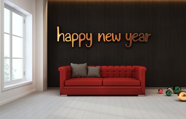 Quarto com parede preta e sofá vermelho.