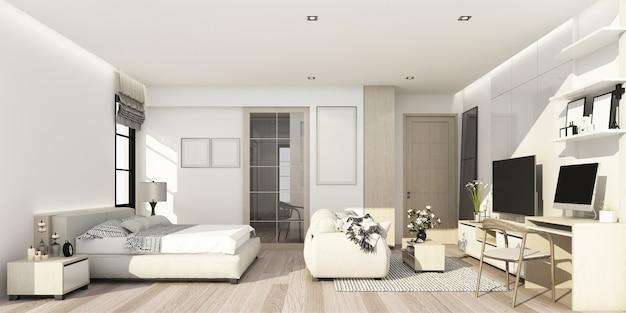 Quarto com textura de madeira e branco com área de estar com decoração de parede e armário de tv