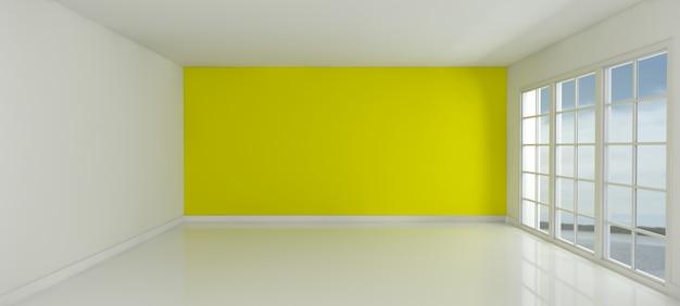 Quarto com uma parede amarela