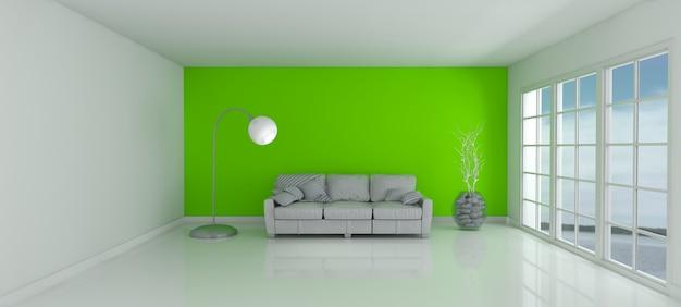 Quarto com uma parede verde e um sofá