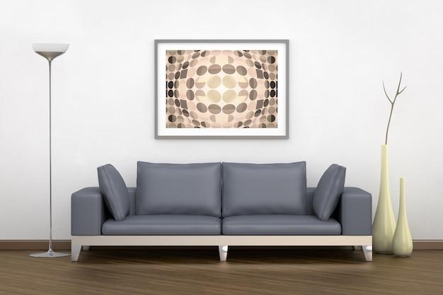 Quarto com uma sala de estar com sofá cinza