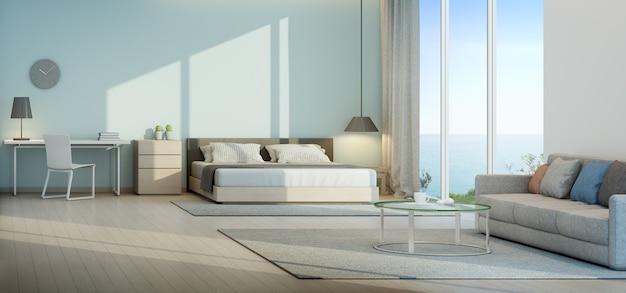 Quarto com vista para o mar e sala de estar em casa de praia de luxo