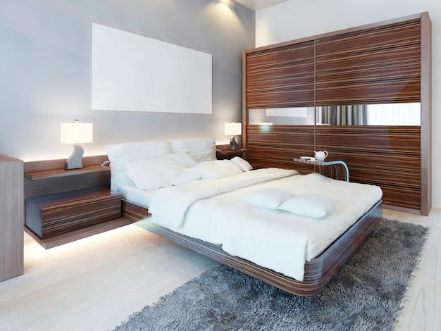 Quarto contemporâneo em cores brancas e móveis zebrano. cama de luxo, duas mesas de cabeceira com candeeiros e roupeiro de correr. 3d render.