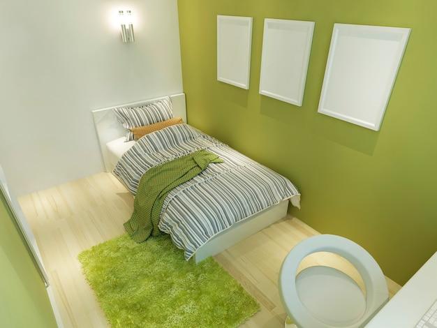 Quarto contemporâneo para adolescente com cama grande e pôsteres de maquete na parede verde. 3d render.