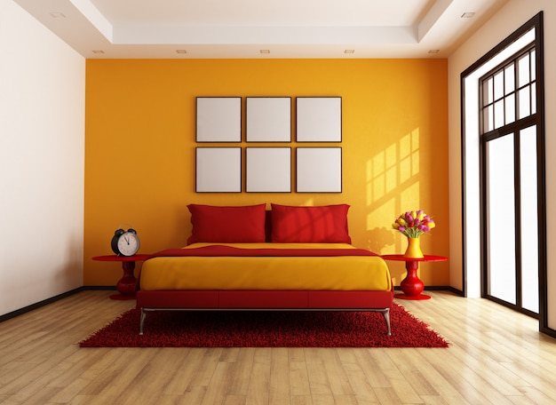 Quarto contemporâneo vermelho e laranja