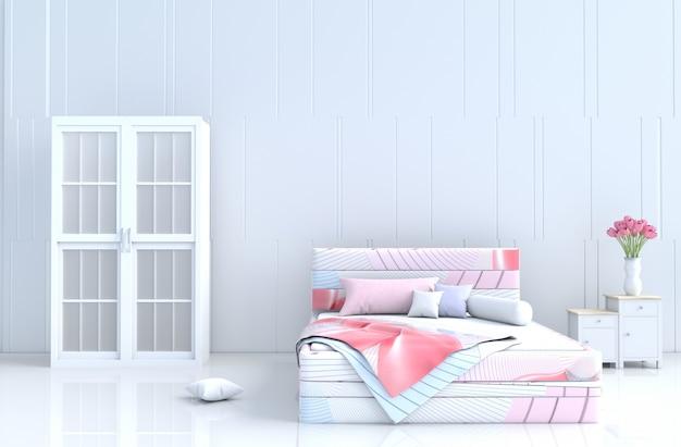 Quarto de cama branco no dia dos namorados. decoração com cama listrada, guarda-roupa, piso de cerâmica. 3d render