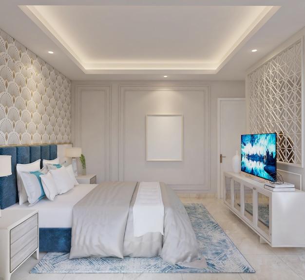 Quarto de cama clássico moderno com credenza, moldura vazia e painel de tv