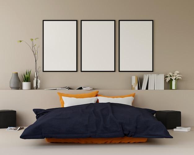 Quarto de cama moderna com sofá e móveis e grupo de moldura na parede. 3d rendem.
